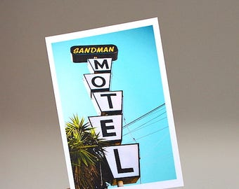 Los Angeles Photography/ Living Room Decor/ Vintage Signage Print/ Color Photography Print/ Sandman Motel/ Bedroom Decor