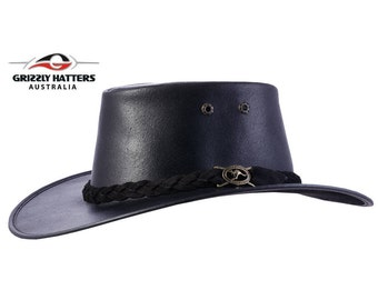 Australian Outback Squashy Bush Hat COWHIDE LEATHER in black - Oiled Finish for weather protection - Flexible Wide Brim - Made in Australia
