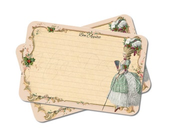 Christmas Bridal Shower Recipe Cards, Marie Antoinette, French, Paris, 4x6, Cookie Exchange, Holiday Recipe Card Set, Pack of 12