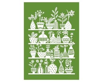 5x7 Print - Potted Plants - Print of Original Papercut Illustration