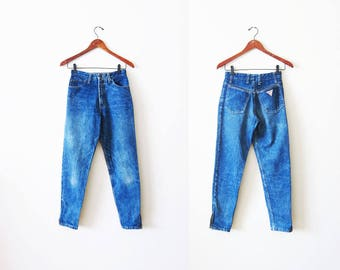Guess Jeans / 80s Guess Jeans / Ankle Zipper Jeans / High Waisted Jeans / Mom Jeans / Vintage Guess Denim / Tapered Leg / Guess Jeans 24