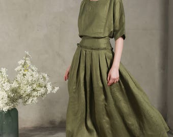 linen skirt in moss green, maxi skirt, long skirt, green skirt, Pleated Skirt, linen skirt, Full Skirt, flared skirt,pocket skirt
