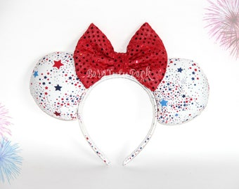 4th of July Mouse Ears // Red White & Blue Mouse Ears // Patriotic Stars Mouse Ears // by Born Tutu Rock