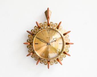 brass starburst clock 60s sunburst wall clock german atlanta clock 60s brass wall