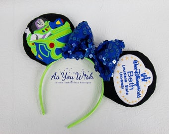 Buzz Light year ranger Spin ride Galactic hero glow in dark Custom madeReversible personalized name tag DCP ears