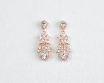 Rose Gold Chandelier Earrings CZ Bridal Earrings, Wedding Earrings, CZ Earrings, Bridal Jewellery JENCY