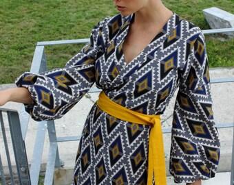 Ethnic patterns dress, wrap dress, balloon sleeves dress, patterned dress, festive dress, cotton dress, colorful dress, holiday dress