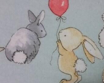 Bunny Fun Flannelette Fabric - FQ Playful bunnies Kids Fabric