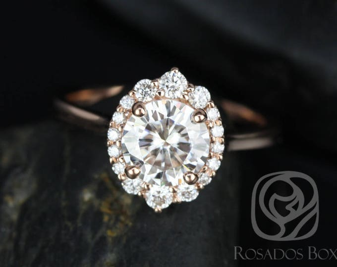 Featured listing image: Rosados Box Eluma 7mm 14kt  Rose Gold Round F1- Moissanite and Diamonds Shield Graduated Halo Engagement Ring