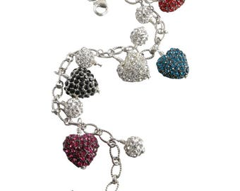 Multi Colored Pave Crystal Heart Sterling Silver Bracelet