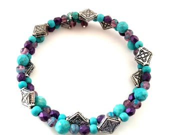 turquoise purple silver memory wire bracelet adjustable cuff bracelet beaded stacking jewelry southwest Indian jewelry gifts for her