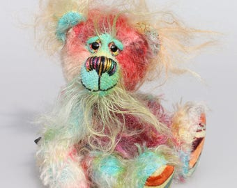 Timmy Twiggles, a comically sweet and dinky, one of a kind, artist bear made in gorgeous hand dyed mohair by Barbara-Ann Bears & full of fun