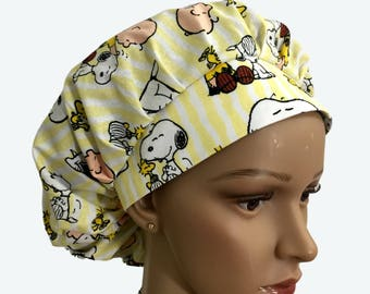 Bouffant Surgical Scrub Hat - Snoopy, Woodstock and Charlie Brown on Yellow Bouffant scrub - Kids Charlie Brown Snoopy Ponytail Scrub hat
