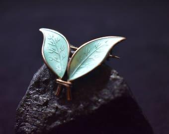 David Andersen Leaf Brooch Vintage Green Enamel Pin Guilloche Norway Norwegian Leaves Foliage Jewelry  925 Sterling Silver