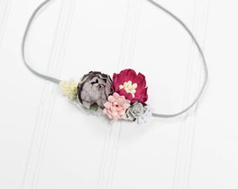 Life Unscripted - beautiful dainty and simple flower headband in raspberry pink, fuchsia, grey, light blink, blush and white (RTS)