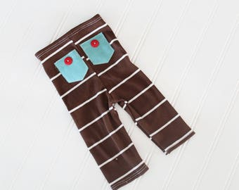 Mr. Handsome  - newborn pants in ribbed chocolate brown knit with cream stripes, aqua pockets and red buttons (RTS)