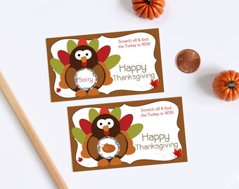 Happy Thanksgiving Turkey Party Game Scratch Off Game Cards
