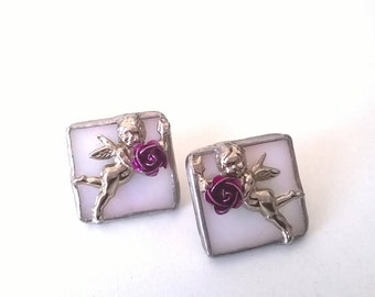 Vintage Glass Cupid Earrings - Silver and Rose Squares -  Pierced Fashion Jewellery - 1990s