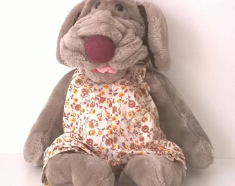 Vintage Ganz Wrinkle Plush Dog - 186810 - Puppet Pup in Floral Jumpsuit - Pet Dog Japan