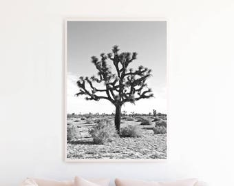Joshua Tree Print, Black and White Photography, Joshua Tree Printable Wall Art Digital Download, Desert Photography Print, Desert Art jt2bwp