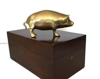 Brass Pig Figurine  Gold Home Decor  Rustic Farm Animal Brass Hog