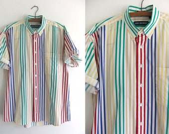 Primary Colors Striped Oxford Shirt - Preppy Ivy League Minimalist 90s Short Sleeve Button Down Shirt - Mens Medium