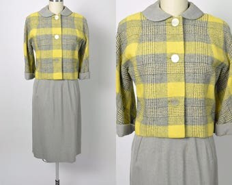 Vintage 1950s Suit 50s Jacket and Pencil Skirt Yellow and Grey Plaid
