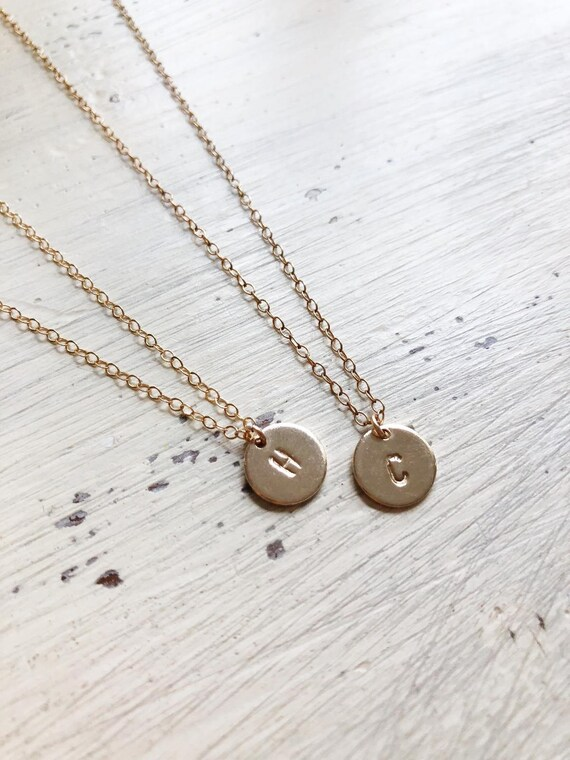 Mini Letter Disc Necklace