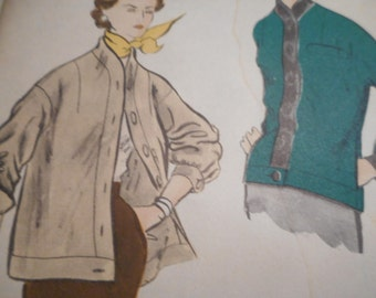 Vintage 1950's Vogue 7794 Jacket Sewing Pattern Size 16 Bust 34