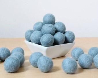 Felt Balls: BLUE GRAY, Felted Balls, DIY Garland Kit, Wool Felt Balls, Felt Pom Pom, Handmade Felt Balls, Blue Felt Balls, Blue Pom Poms