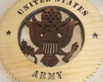 Army round Military Plaque without Backer, stained, scroll saw, can be personalized