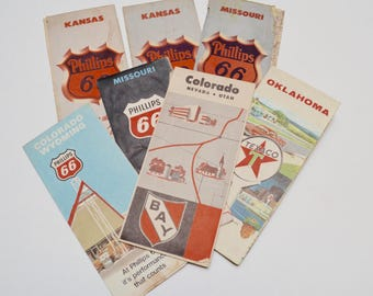 vintage maps, gas / petroleum advertising ephemera: set of seven includes Kansas / Oklahoma / Colorado / Missouri