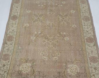 4 by 7 rug / Vintage Oushak Rug / Vintage Rug / Oushak Area Rug / Turkish Vintage Rug / Oushak Rug / Area Rug / Boho Rug / Low Pile Rug