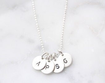 Sterling Silver Initial Necklace Handstamped with Baby, Child, Loved Ones Initials, Silver Disc Necklace, Tiny Disc Necklace with Initials