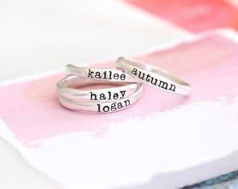 Custom Stackable Name Ring, Sterling Silver Stacking Rings, Skinny Ring, Date Ring, Organic Sculpted Ring, Mother's Ring, Mothers Day Gift