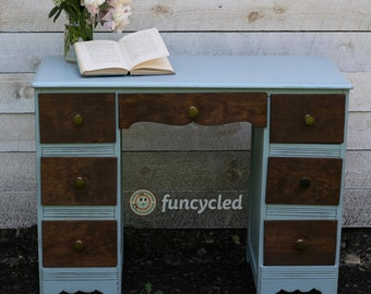 Light Blue with Wood Front Desk