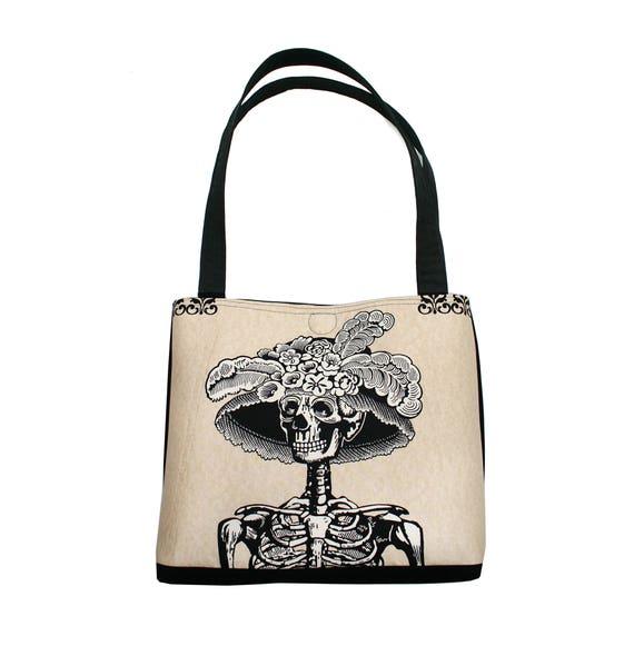 La Catrina, Dia de los Muertos, Halloween, skeleton, large tote, tote bag, travel bag