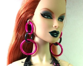 Fashion Doll Earrings - Pink and Black Triple Hoop Earrings for Barbie, Fashion Royalty, Poppy etc