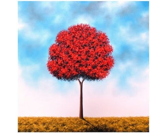 Textured Oil Painting, Contemporary Modern Art, ORIGINAL Red Tree Painting, Impasto Tree Art, Large Wall Art, Blue Sky, Landscape, 24x24