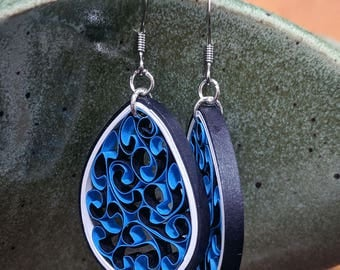 Cobalt Blue Paper Quilling Honeycomb Earrings | 1st Paper Anniversary Gift for Her | Stainless Steel Hypoallergenic for Sensitive Ears