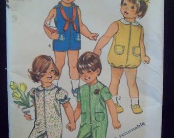 Vintage Toddler's Jumpsuit Bubblesuit 1970s Simplicity Pattern 9290 Cut Size 1/2
