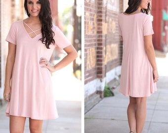 Peach Cross Front Tunic Dress | Perfect for Easter, Spring and Summer Weddings!