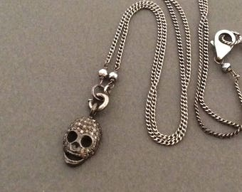 Antique Sterling Silver Charm Necklace, New Pave Diamond Skull Charm, Memento Mori