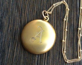 Antique Round Wightman & Hough Locket Necklace, Monogram Initial A