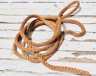 "Vintage Three-Strand Twisted Hemp Nautical Rope 7 ft 5"""