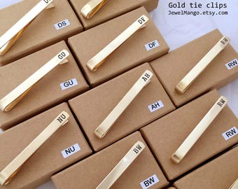GOLD Tie Clip,gold color,Groomsmen gift, Skinny Tie clip, short, Groomsmen tie clip, Wedding, Custom Tie Clip, gift for him, dad, boy friend