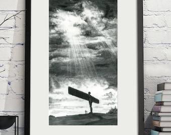Angel of the North Charcoal Illustration Digital Print