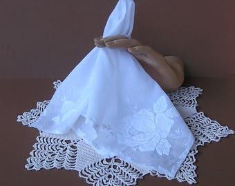 White Floral Wedding Handkerchief . Rose Hanky . Vintage Bride's Hanky . Bridal . Applique & Embroidery Hanky