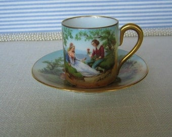 Vintage RS SUHL (Beehive) Porcelain Demitasse Cup  & Saucer with Scene Royal Vienna Beehive with Leaf RS Prussia Related Gift