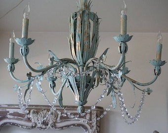 French chandelier lighting antique hand painted blue lighting w/ gold distressed shabby cottage chic crystal & Painted chandelier | Etsy azcodes.com